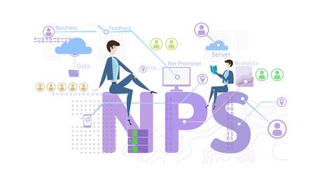 NPS-concept, vectordieillustratie, op witte achtergrond wordt geïsoleerd. Net Promotor Score. Vector Illustratie