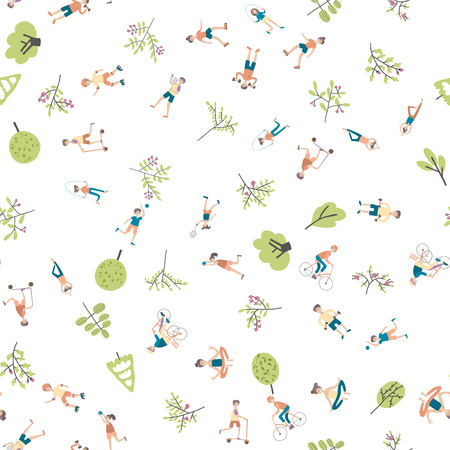 Active lifestyle, sports entertainment outdoors. Young people in city park among the trees. Seamless pattern, vector background illustration on white.