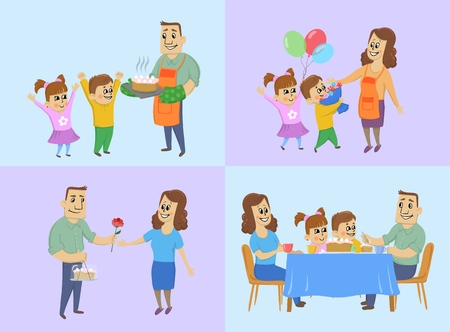 March 8, international womens day concept. Happy husband and children prepare a cake, give gifts to mom and have dinner with the whole family at the holiday table. Vector illustration.