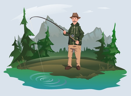 Fisherman with a fishing rod on the shore of a forest lake. Active outdoor recreation. Isolated vector illustration.