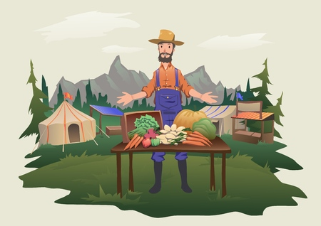 Farmers market, village fair. A man standing behind a counter with fresh vegetables grown on the farm. Isolated vector illustration.