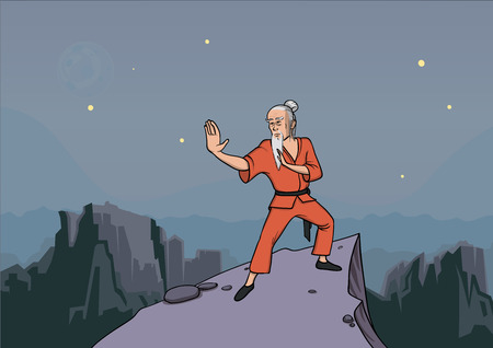 Old gray-haired man, master of martial arts practicing wushu in the mountains vector illustration.