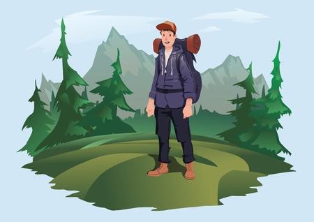 Mountain tourism illustration