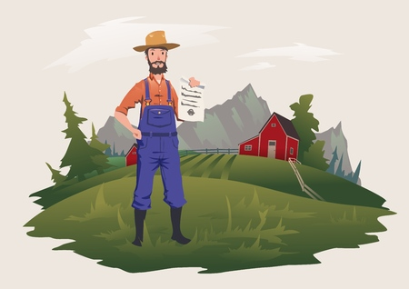 The farmer stands on the farm and holds a paper document. Paper on private ownership or insurance. Vector illustration, isolated on light background. 向量圖像