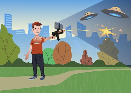 Augmented reality games. Boy with AR gun playing a shooter. Game weapon with mobile phone. Vector illustration in flat style.