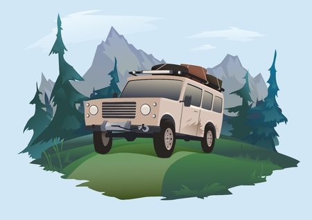 SUV driving on a forest road. Jeeping emblem. Traveling by off-road car. Vector illustration, isolated on light background. Stock Photo