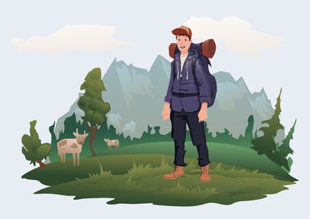 Happy young man with backpack on the background of the mountain landscape. Mountain tourism, hiking, active outdoor recreation. Vector illustration, isolated on light background. Ilustracja