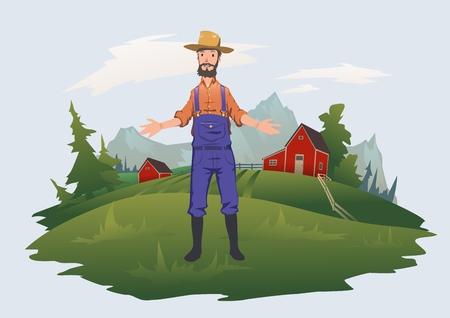 Happy farmer on the meadows