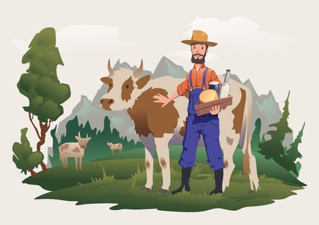 A cow farmer in a meadow Иллюстрация