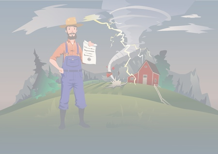 Farmers insurance concept, vector illustration. Tornado on the farm. A calm farmer standing and holding the insurance policy in his hand. Home and household hurricane insurance. Illustration
