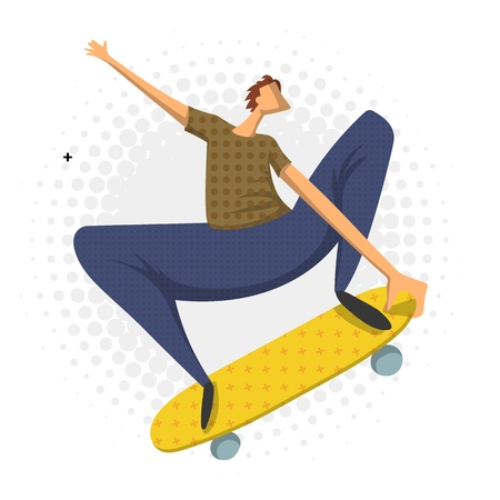 Man doing a jumping trick on skateboard, vector illustration in flat style, isolated on white background. Skateboarder. Stock Illustratie