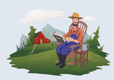 A man is sitting in a chair reading a book. The farmer is resting on the farm next to the house. Vector illustration, isolated on light background.