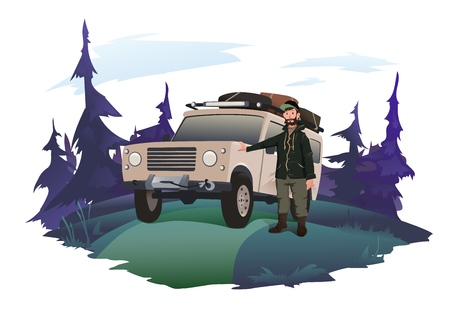 Man driver stands next to the SUV on a forest road. Illustration