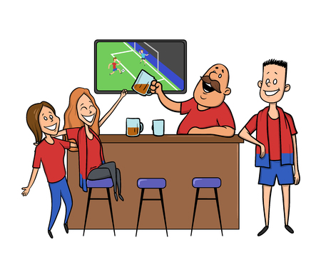 Football fans cheering for the team in a bar. Flat vector illustration on white background.