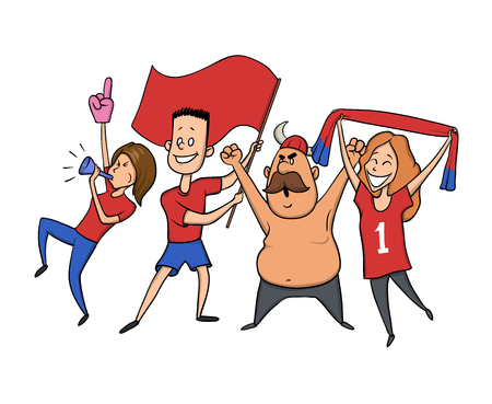 Group of sport fans with football attributes cheering for the team. Flat vector illustration on a white background. Иллюстрация