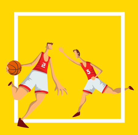 Basketball players in abstract flat style. Men playing with a basketball ball. Design template for sport poster. Vector illustration, isolated on yellow background.