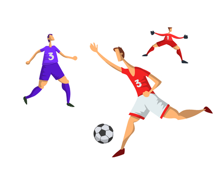 Soccer football players in abstract flat style. Vector illustration, isolated on white background. Illustration