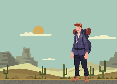 A young happy man, backpacker in the desert. Hiker, explorer. Vector illustration with copy space.