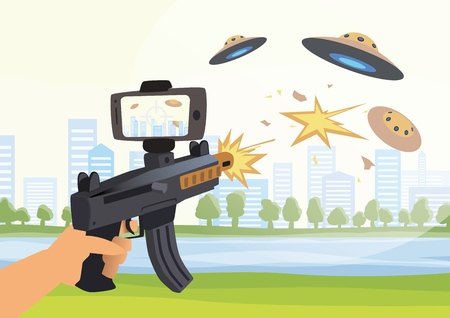 Augmented reality games. Boy with AR gun playing a shooter. Game weapon with smartphone. Vector illustration.