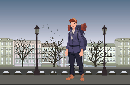 Happy young man on evening walk in the old European city. A tourist with backpack. Vector Illustration.