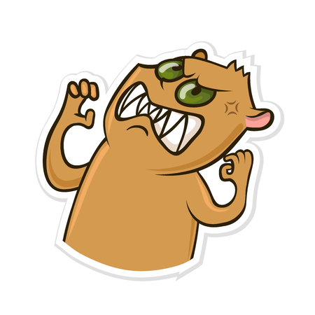 Sticker for messenger with funny animal. Angry hamster. Vector illustration 일러스트