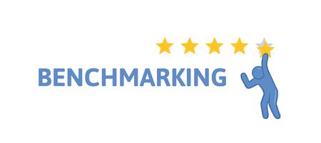 Konzept zum Thema Benchmarking. Vektorabbildung, getrennt auf weißem Hintergrund.