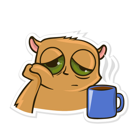 Sticker for messenger with funny animal. Hamster with a Cup of tea or coffee. Vector illustration, isolated on white background. Imagens - 95913641