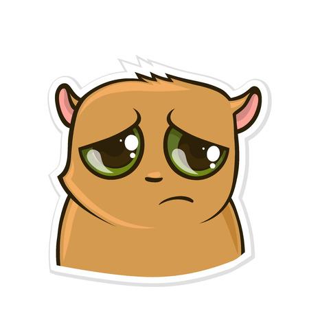 Sticker for messenger with funny animal. Sad Hamster. Vector illustration, isolated on white background. Illustration