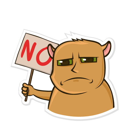 Sticker for messenger with funny animal. Dissatisfied hamster holding a sign with the word no. Isolated vector illustration on white background. Vectores