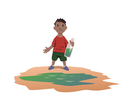 Water scarcity concept. African boy took drinking water from a dirty puddle. Bad drinking water is the cause of dangerous intestinal infections. Vector illustration, isolated on white background. 일러스트