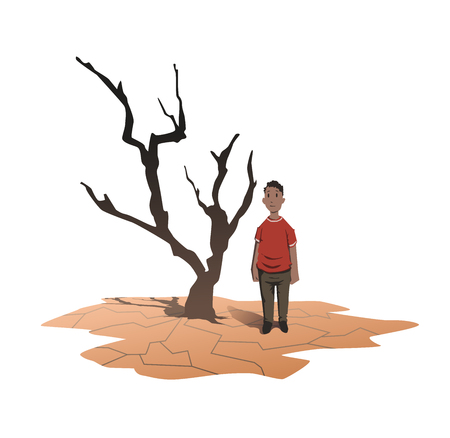 Water scarcity concept. An African man stands next to a withered tree on the cracked earth. Drought, crop failure. Vector illustration, isolated on white background.
