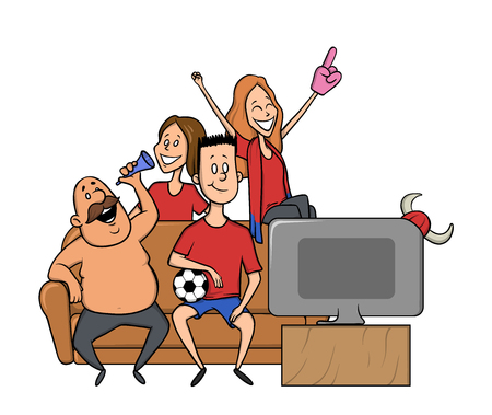 Group of sports fans with football attributes cheering for the team in front of TV-set on a couch. Flat vector illustration on a white background.