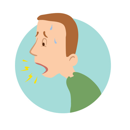 Young man coughing, shortness of breath, sickness icon. Vector flat illustration, isolated on white background. Ilustrace