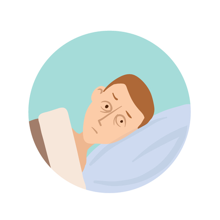 The young man lies in bed with his eyes open. Sleep disorders, insomnia round icon. Vector flat illustration, isolated on white background. 版權商用圖片 - 95994212
