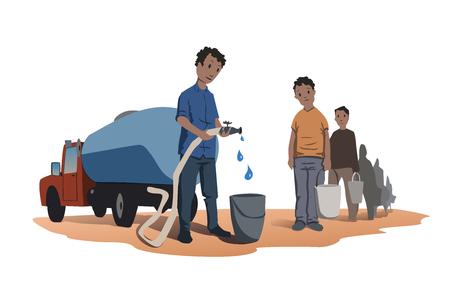 Concetto di scarsità d'acqua. Gli africani sono in fila per l'acqua. Il camion dell'acqua. Illustrazione vettoriale, isolato su sfondo bianco Vettoriali