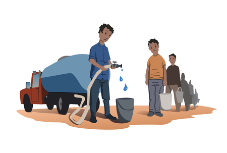 Water scarcity concept. African people stand in line for water. The water truck. Vector illustration, isolated on white background. Stock Illustratie