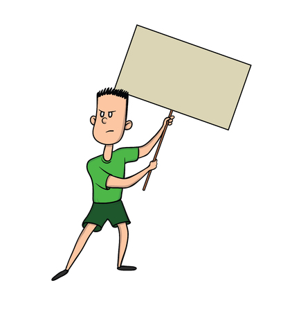 Young man holding blank protest sign. Vector illustration, isolated on white background.