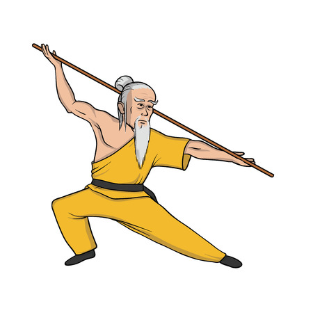 Shaolin monk practicing kung fu or wushu. Martial arts. Vector illustration, isolated on white background.