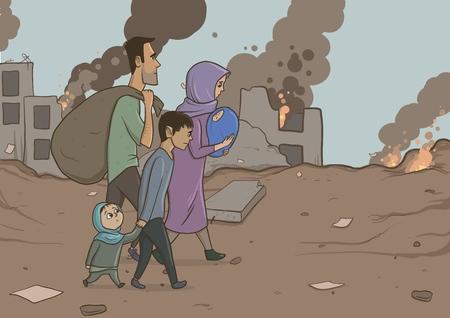 Familia de refugiados con dos hijos en el fondo de edificios destruidos. Religión de inmigración y tema social. Crisis de guerra e inmigración. Personajes de ilustración vectorial horizontal.