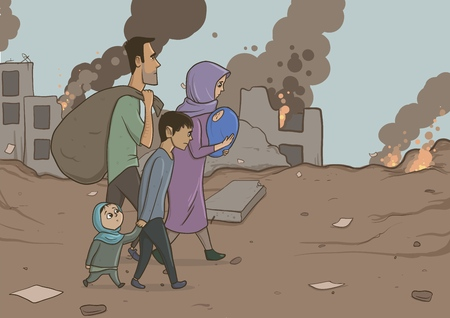 Family of refugees with two children on destroyed buildings background. Immigration religion and social theme. War crisis and immigration. Horizontal vector illustration characters.