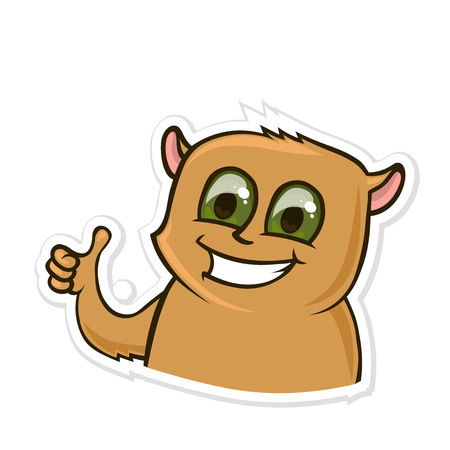 Sticker for messenger with funny animal. Happy hamster showing thumb-up or like gesture. Vector illustration, isolated on white background. 일러스트
