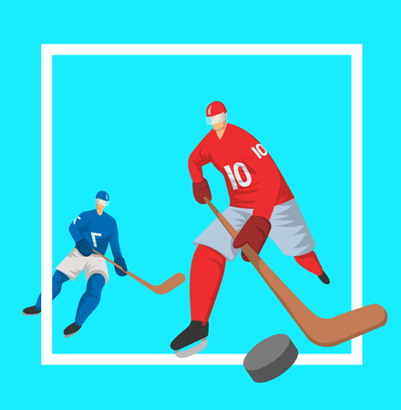 Two hockey players in abstract flat style. Vector illutration, design template for sport poster.