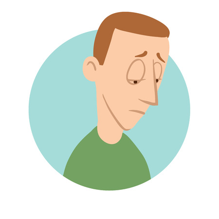 Sad young man icon, depression. Vector flat illustration, isolated on white background.