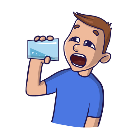 Young man drinking water on a white background. Isolated flat illustration cartoon vector image.