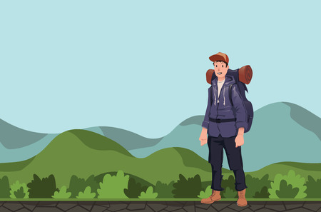 Backpacker in a hilly area