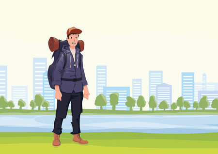 Happy young man on the morning walk in the city park. A tourist with backpack. Vector illustration.