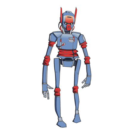 Humanoid robot, android with artificial intelligence. Vector illustration, isolated on white background. Illustration