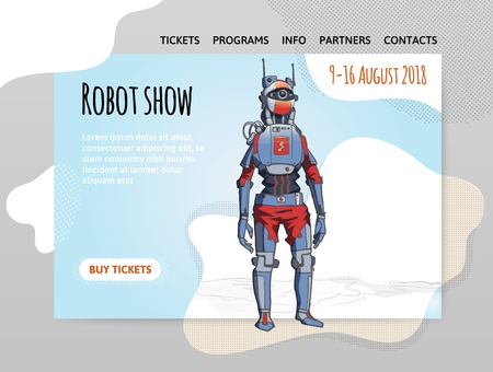 Humanoid robot, android with artificial intelligence. Robot show. Vector illutration, design template of site header, banner or poster. Illustration