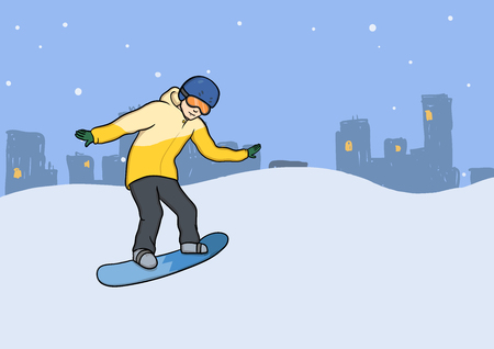 A young man with snowboard in motion.  Vector Illustration, isolated on white background. Stock Illustratie