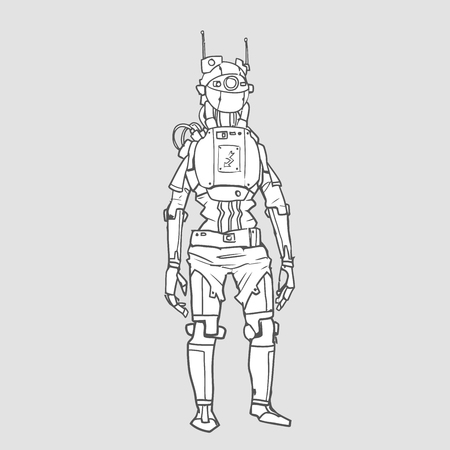 Humanoid robot with artificial intelligence. Contour vector illustration, isolated